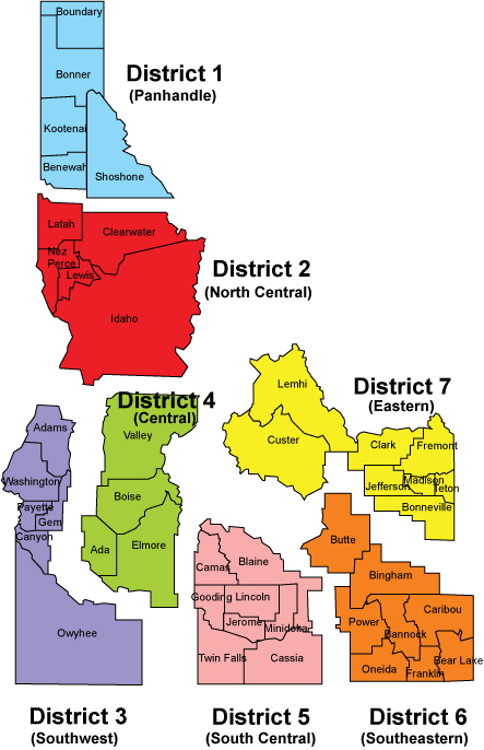 Idaho 7 health districts map